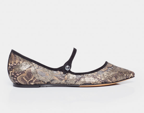Hermione Spark Gold Lace/Black Kidsuede Pointed Flat Mary Jane