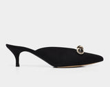 Joyce Black Kidsuede Pointed Toe Mule w/Bow Detail