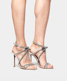 Iceley Silver Metallic Nappa Sandal w/Gold Strass Chain