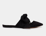 Aida Black Kidsuede Pointed Toe Slide