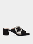 SELENA CRYSTAL BLACK KIDSUEDE/CRYSTAL BUCKLE