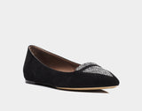 Alexa Black Kidsuede Grey Tweed Pointed Flat