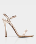 Eve Rose Satin Open Toe Strappy Heeled Sandal