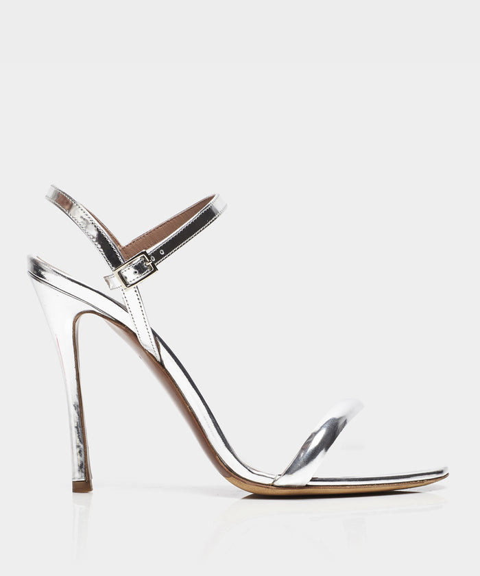 Eve Silver Shiny Calf Open Toe Strappy Heeled Sandal