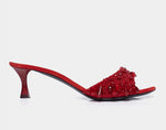 BEADED KITTEN HEEL MULE RED