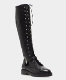 Alfri Black Calf Round Toe Lace Up Knee High Boot