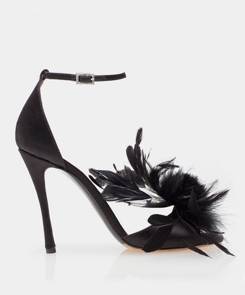 Avary Black Satin Sandal w/Feather Detail & Swarovski Crystal