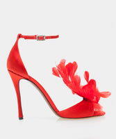 Avary Red Satin Sandal w/Feather Detail & Swarovski Crystal