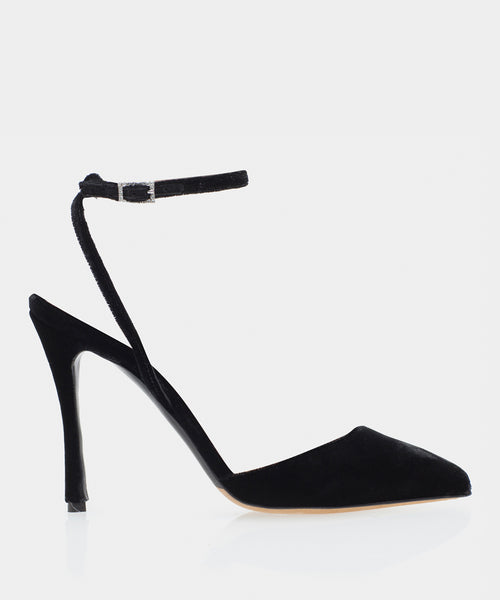 Elvin Black Velvet Pointed Toe Evening Shoe