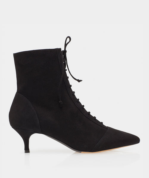 Emmet Black Kidsuede Pointed Toe Lace Up Bootie