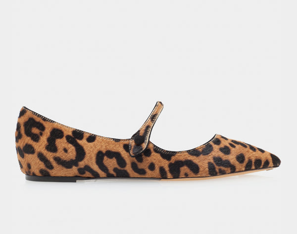 Hermione Leopard Haircalf Pointed Flat Mary Jane
