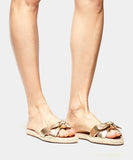 Heli Gold Metallic Nappa Flat Slip On Espadrille