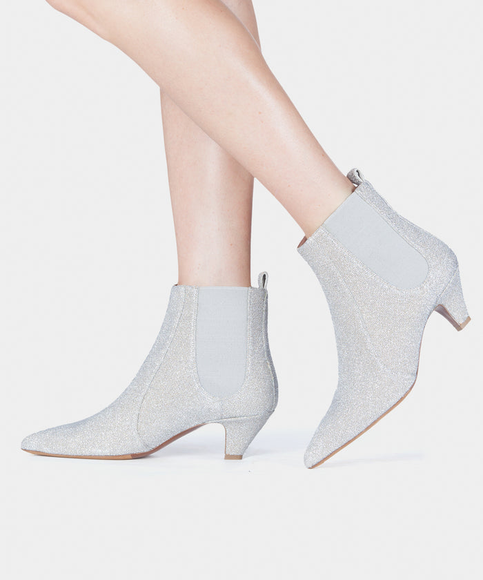 39930c66a95 Effie Champagne Lurex Pointed Toe Chelsea Bootie - Tabitha Simmons