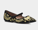 HERMIONE BLACK VELVET/GOLD EMBROIDERED