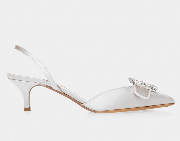 Bells White Satin Pointed Slingback