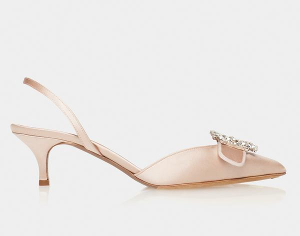 Bells Rose Satin Pointed Slingback