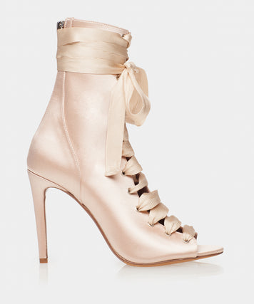 Klara Rose Satin Lace Up Open Toe Bootie Heel
