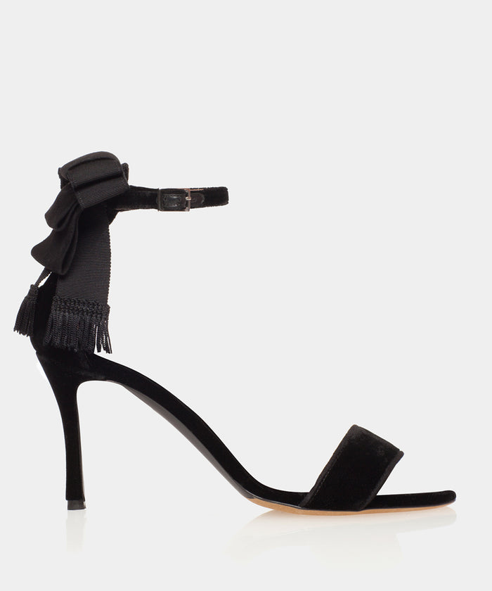 Frances Black Velvet Sandal