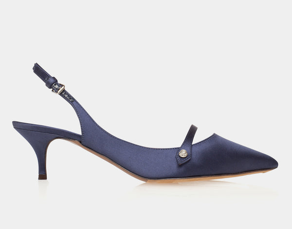 Layton Navy Satin Pointed Mary Jane Sling-Back Kitten Heel