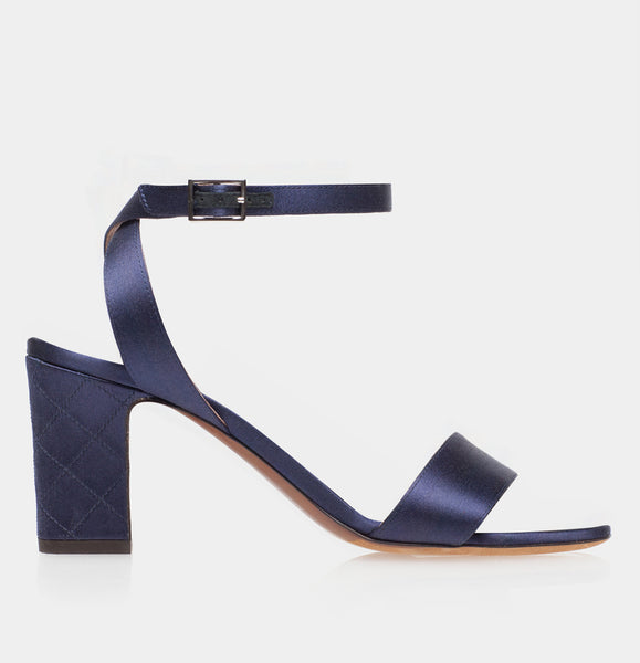Leticia Quilted Navy Satin Block Heel