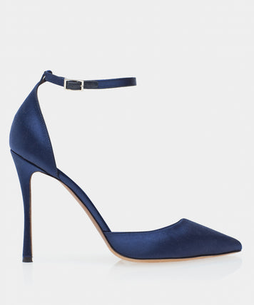 Alhambra Navy Satin Point Toe Pump