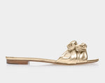 Cleo Gold Metallic Nappa Flat Slip-on Sandal