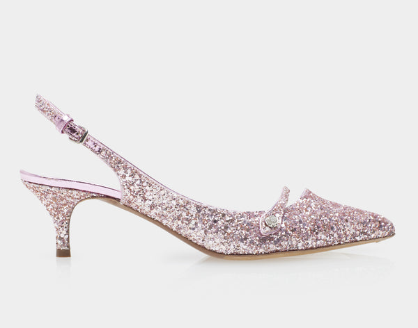 Layton Pink Glitter Pointed Mary Jane Sling-Back Kitten Heel
