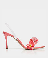 Follie White Pink Patent Sling Back Sandal