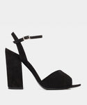 Kali Black Kidsuede Pleated Open Toe Block Heel Sandal