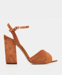 Kali Cognac Kidsuede Pleated Open Toe Block Heel Sandal