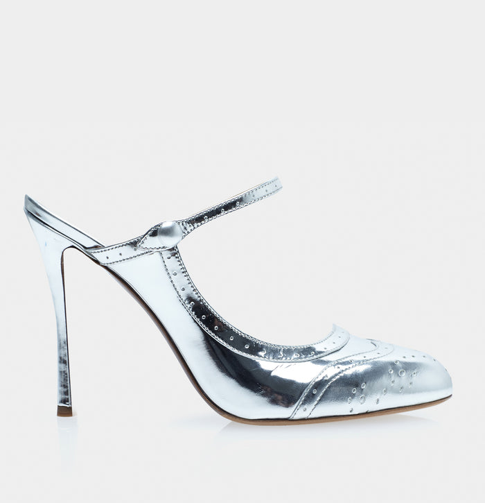 Alyce Silver Almond Toe Mary Jane Pump