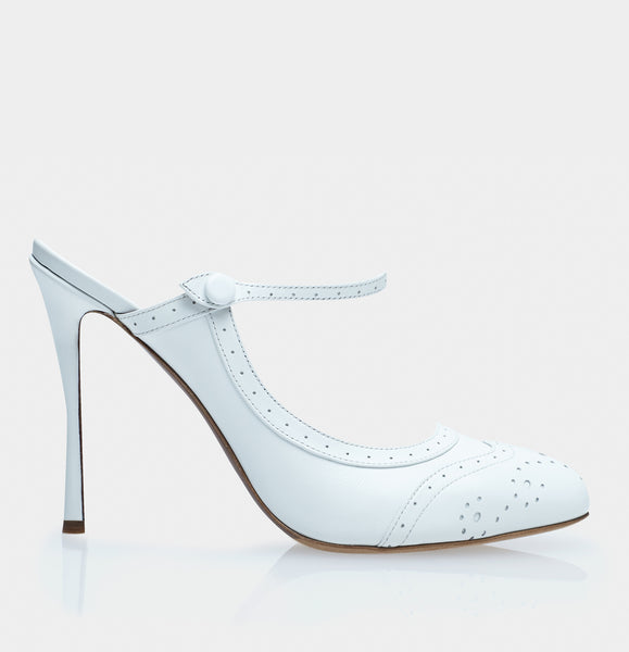 Alyce White Calf Almond Toe Mary Jane Pump