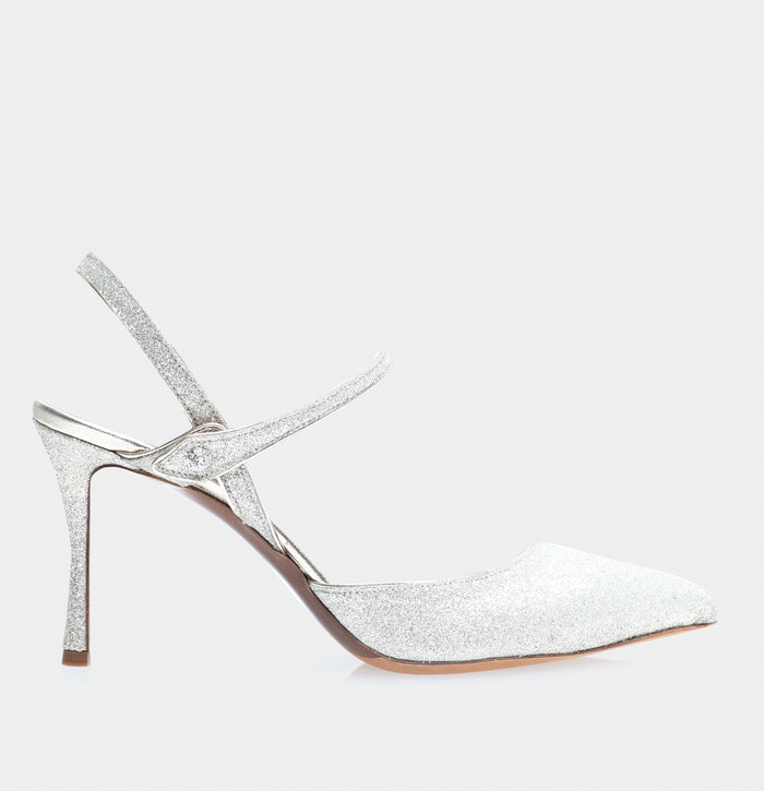 Ariel Champagne Fine Glitter Pointed Toe Mary Jane