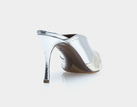 Blade Silver Metallic Nappa Point Toe Mule
