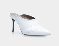 Blade White Metallic Nappa Point Toe Mule