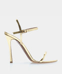 Eve Gold Shiny Calf Open Toe Strappy Heeled Sandal