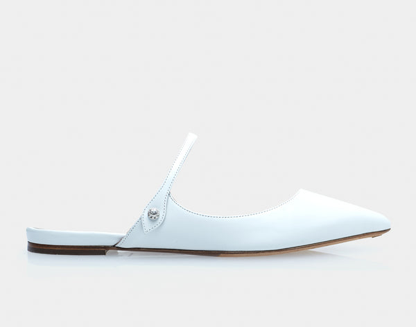 Kittie White Calf Pointed Flat Mary Jane Slide