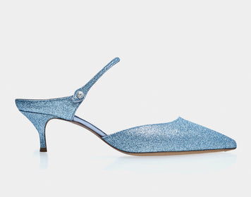 Liberty Light Blue Fine Glitter Pointed Mary Jane Kitten Heel Mule
