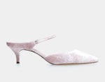 Liberty Light Pink Velvet Pointed Mary Jane Kitten Heel Mule