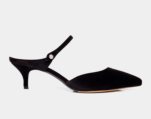 Liberty Black Velvet Pointed Mary Jane Kitten Heel Mule