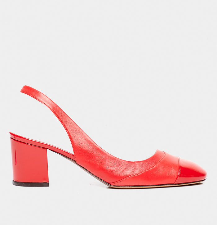 Beryl Red Calf Cap Toe Sling Back Pump