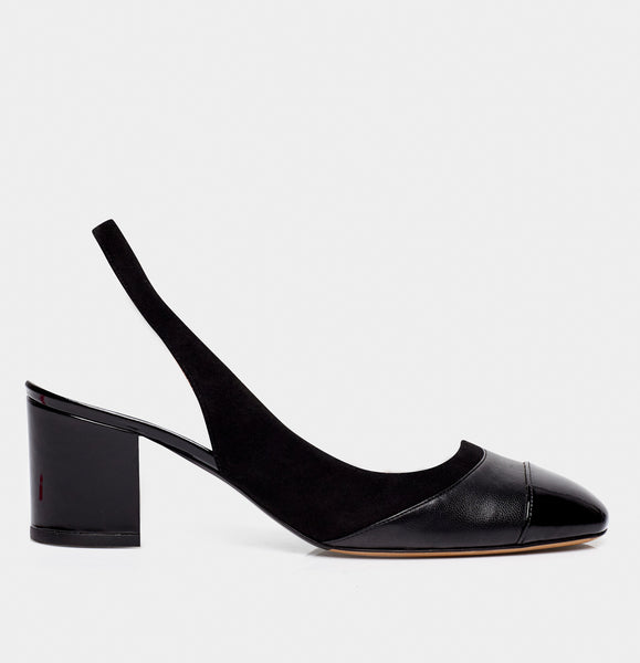 Beryl Black Calf Cap Toe Sling Back Pump