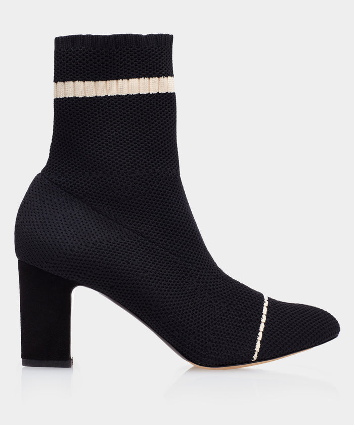Anna Stripe Black Knit Almond Toe Bootie