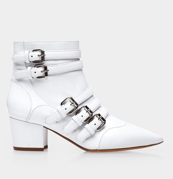 Christy White Calf Pointed Toe Boot w/Buckle
