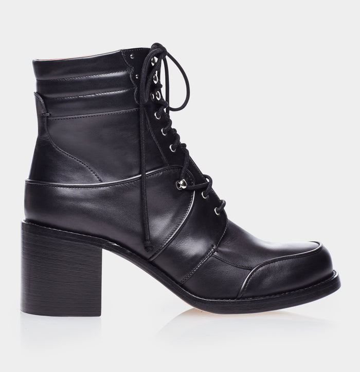 Leo Black Calf Lace Up Boot