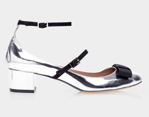 Rubia Silver Mirror Metallic Calf/Black Grosgrain