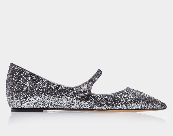 Hermione Gunmetal Glitter/Metallic Nappa Pointed Flat Mary Jane