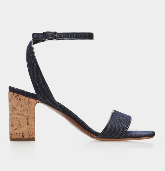 Leticia Indigo Denim Kidsuede/Nat Cork Block Heel