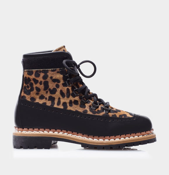 Bexley Black Calf/Leopard Haircalf Lace Up Ski Boot