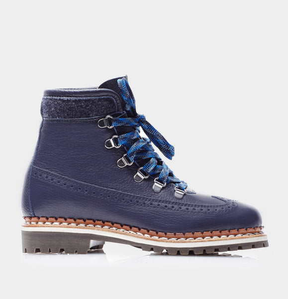 Bexley Navy Calf Lace Up Ski Boot